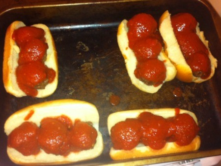 Pasta sause on meatball subs