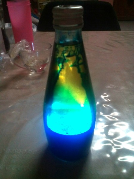 DIY Lava Lamp - place battery operated light behind the bottle