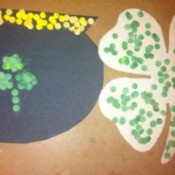 Hole-Punch St. Patrick's Day Art - finished pot of gold and clover