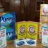 Supplies for making laundry detergent.