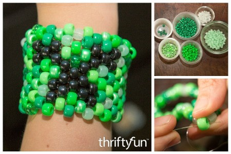 Beaded Minecraft Creeper Kandi Cuff
