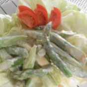 asparagus salad with peanut dressing on plate
