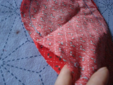Pot Holders from Shoulder Pads - place fabric right sides together, sew leaving a gap for turning