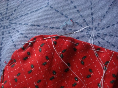 Pot Holders from Shoulder Pads - pin mini pieces to main piece