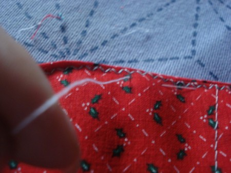 Pot Holders from Shoulder Pads - remove pins and basting stitches
