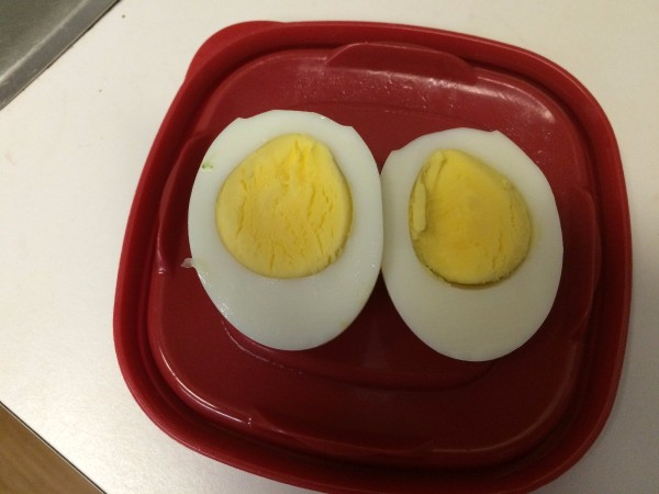 hard boiled egg cut into halves on plate
