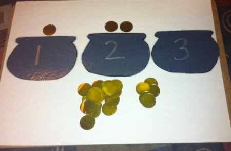 Pot of Gold Number Matching - lay the correct number of coins with each pot