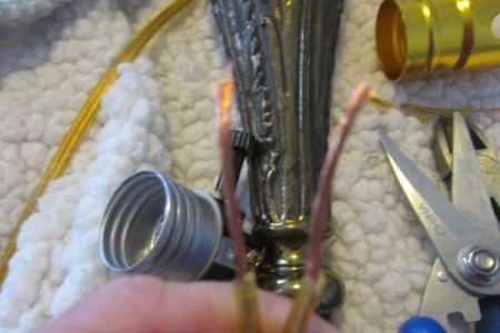 Rewiring a Living Room Lamp - loosen screws and wrap wires