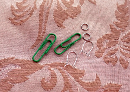 Paperclip and Bead Wrapped Earrings - supplies, clips, jump rings, and wires