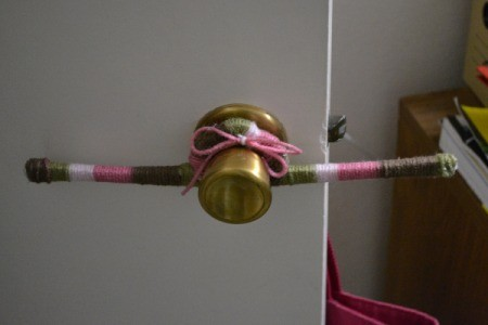 Yarn Wrap Letters and Hanger  - wrapped hanger on door knob