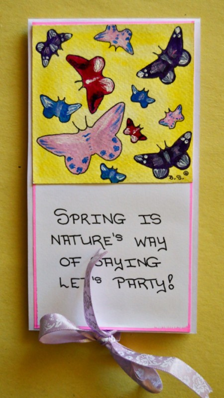 Spring Tea Party Invitation - tie ribbon into a bow