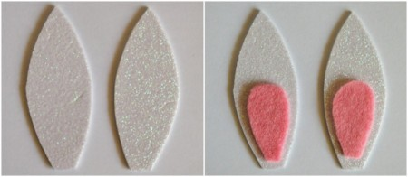 Upcycled Easter Bunny Craft - cut out ear pieces, glue inner ear to glitter foam ears