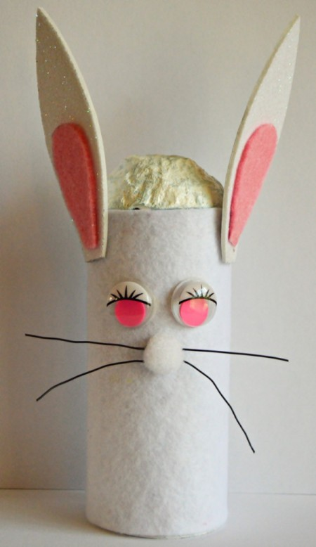 Upcycled Easter Bunny Craft - glue eyes and nose in place