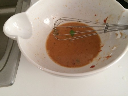Remaining sauce for the simmered chicken.