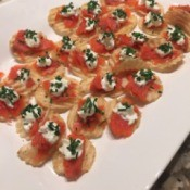 Smoked Salmon Crostini Appetizers on serving dish