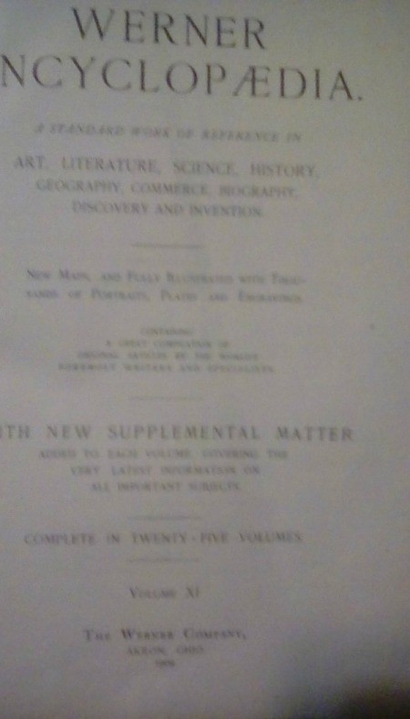 Information on 1909 Werner Encyclopedia- cover page