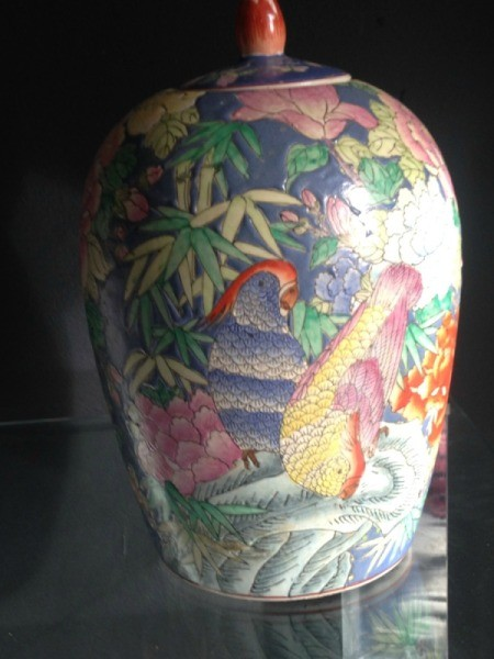 Value of Asian Motif Vase - view of one side of covered vase