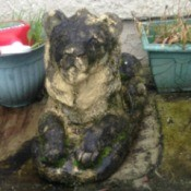 Value of Outdoor Lion Figurine - discolored lion figurine of unknown material