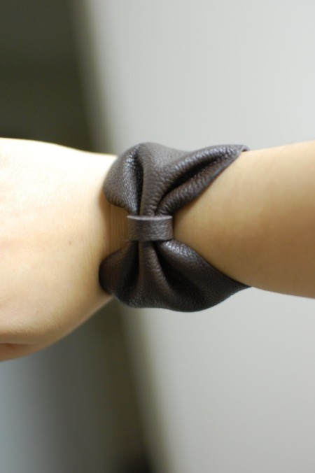 DIY Leather Bow Bracelet - bracelet on wrist