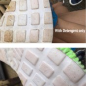 Better Way to Wash Shoes - two part photo of both methods