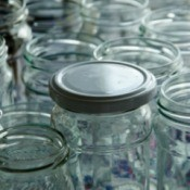 A selection of glass canning jars.