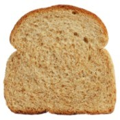 A slice of whole wheat bread.
