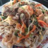 Shrimp Beef Stir Fry Noodles with Vegetables on plate