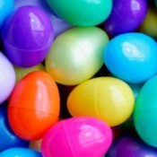 A bunch of colorful plastic Easter eggs.