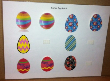 Simple Paper Easter Egg Match - game board with Velcro and matched eggs