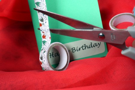 Candle Birthday Card - cut a piece of decorative tape for the first candle