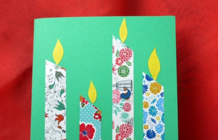 Candle Birthday Card - close up of candles with flames