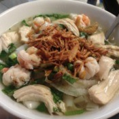 Bowl of Chicken and Shrimp Noodle Soup