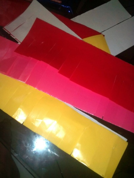DIY Piñata - red and yellow art paper