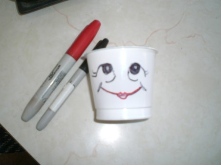 Grow Grass Hair for Project or Pets - draw funny faces on cups