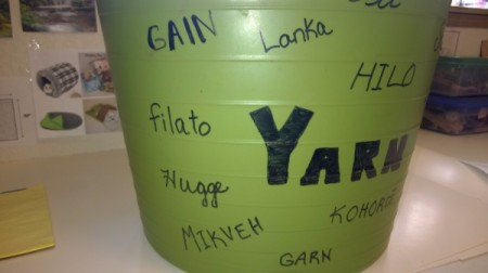 "Multi-linguistic Yarn Tub - write ""yarn"" in large letters and then added the various words in different languages"