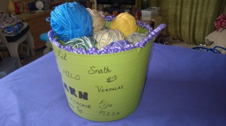 Multi-linguistic Yarn Tub - side view of filled tub