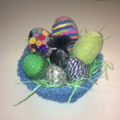 Unique Eggs in One Homemade Basket - decorated eggs in crochet basket