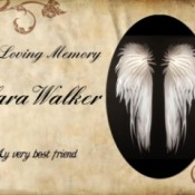 A card in memory of Clara Walker with angel wings.