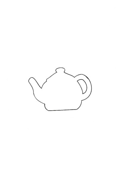 Tea is Served! - Tea Tray Cloth - line drawing of teapot