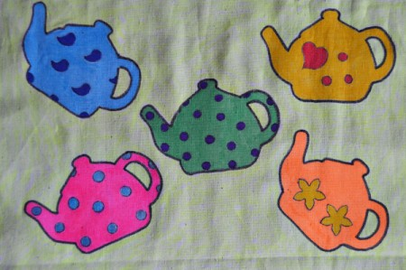 Tea is Served! - Tea Tray Cloth - Use the neon yellow pen to unevenly color the rectangle's background.