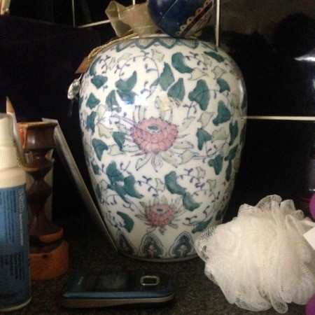 Information on Chinese Vase - vase with vine and pink flower motif