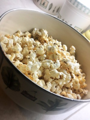 Best Stovetop Popcorn in bowl