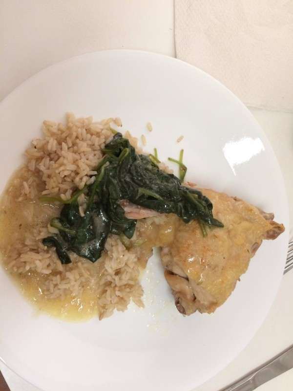 Pressure Cooker Lemon Butter Chicken on plate with rice