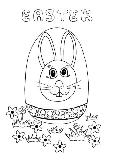 Easter Egg Hunt Kids Coloring Page