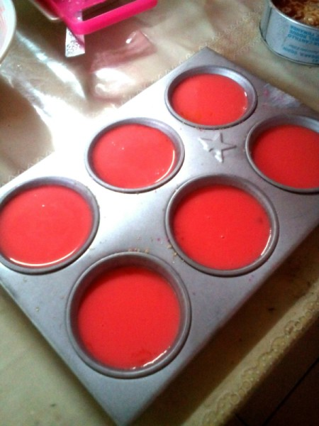Strawberry Custard in mold