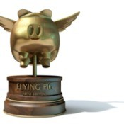 Flying pig award trophey