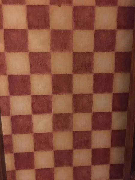 Discontinued Wallpaper - brick and honey colored checkerboard pattern