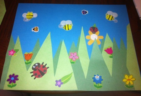 Spring Day Project Using Stickers - add bug and flower stickers