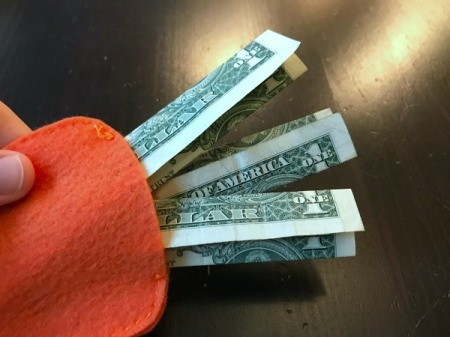 Felt Carrot Money Pocket - fold money in thirds lengthwise and place in pocket