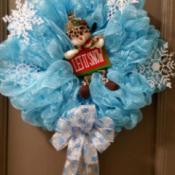 Name Ideas for a Handmade Wreath Company - blue tulle and snowflake wreath